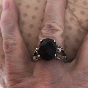 COPY - Marcasite Black stone Ring